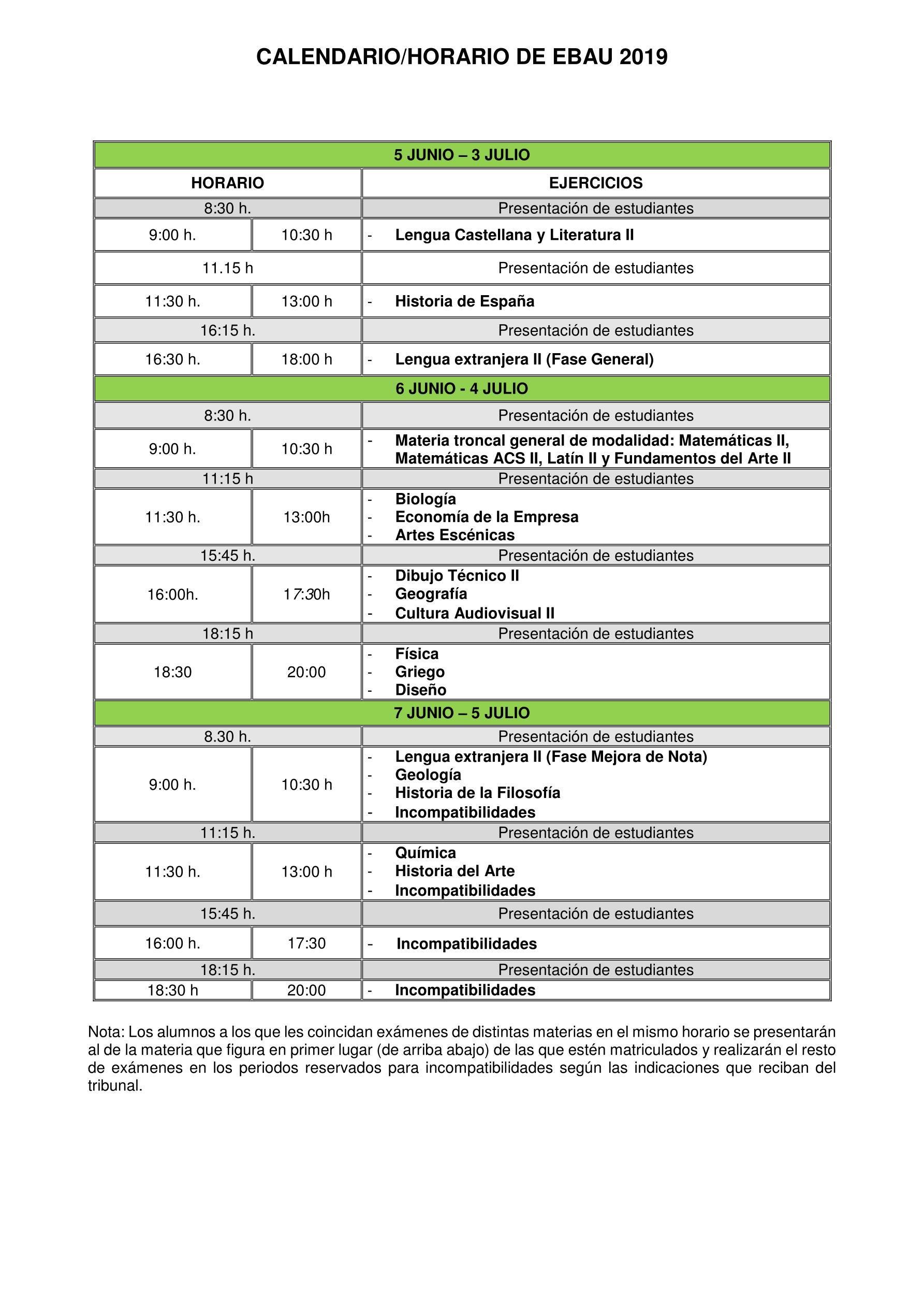 Calendario Examenes Derecho Us.La Asociacion
